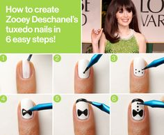 Zooey Deschanel's go-to nail guy, Tom Bachik, recreates the fun tuxedo tips she rocked at the 2012 Golden Globes in 6 easy steps!