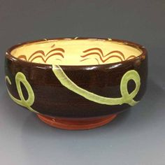 Serving Bowl  Black and Creme with Green by RonPhilbeckPottery, $45.00