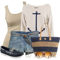 Denim Shorts by daiscat on Polyvore featuring polyvore, fashion, style, Gosse de Paris, H&M, Sperry Top-Sider, Tory Burch, Carolina Bucci, Warby Parker and Banana Republic