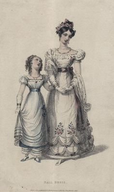 March ballgowns for women and girls, 1826 England, Ackermann's Repository