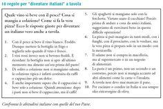 """Le 10 regole per """"diventare italiani"""" a tavola (da Nuovo Espresso 1)"""