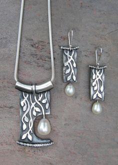 Deb Steele   PMC Silver & pearl necklace/earrings set.