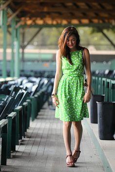 Sarah Vickers from Classy Girls Wear Pearls, 17 July 2012. Wearing: Kate Spade Dress |  Brooks Brothers Sandals | Kiel James Patrick Bag | J. Crew Bracelets | Loren Hope Earrings.