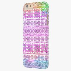 Cute iPhone 6 Case! This Rainbow Glitter Girly Neon Aztec Tribal Pattern Barely There iPhone 6 Plus Case can be personalized or purchased as is to protect your iPhone 6 in Style!