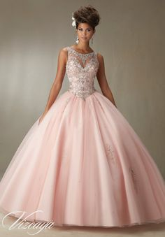 Mori Lee Vizcaya Quinceanera Dress Style 89067 is made for girls who want to look like a beautiful Princess on her Sweet 15. Made out of tulle, this ball gown features a sleeveless bodice with a sheer