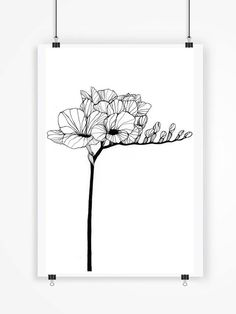 Hey, I found this really awesome Etsy listing at https://www.etsy.com/listing/228964917/freesia-black-and-white-art-print-flower