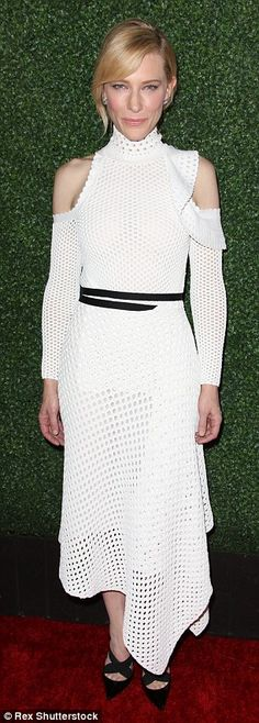 Cate Blanchett wears cut out shoulder mesh dress for Truth screening