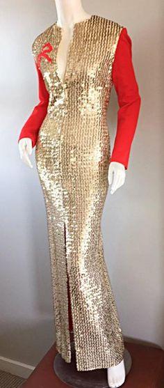 "Rare Vintage Oscar de la Renta Gold Sequin "" Red Ribbon "" Dress Gown 3"