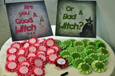 You could do white cupcakes with pink frosting (good witch) and chocolate cupcakes with green frosting (bad witch)