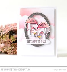 Stamps: Let's Flamingle  Die-namics: Let's Flamingle, Single Stitch Line Oval Frames  Stencil: Mini Cloud Edges    Vika Salmina    #mftstamps