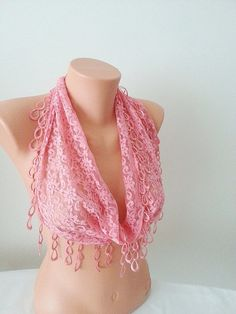 Pink Lace Scarf with lace fringelariat by SpecialFabrics on Etsy