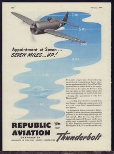1944 WW II REPUBLIC AVIATION P-47 Thunderbolt WWII WW2 AD Farmingdale NY