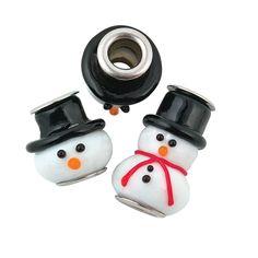 Snowman Lampwork Large Hole Beads - TerrysVillage.com