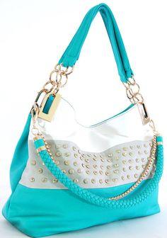 Handbag Republic - Rhinestoned Tote Shoulder bag - BLUE #HANDBAGREPUBLIC #ShoulderBagTote