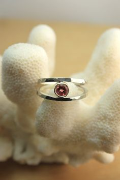 Pink Tourmaline & Hammered Sterling Silver Ring. $180.00, via Etsy.