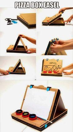 Saloncito Didactico: Bastidor o caballete para pintura con una caja de carton.