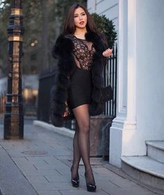 More attractive women & girls wearing tight-fitting skirts and dresses as everyday wear or partywear: . Pantyhose Fashion, Pantyhose Outfits, Tights Outfit, Nylons, Tight Dresses, Sexy Dresses, Fashion Dresses, Tight Skirts, Sexy Women