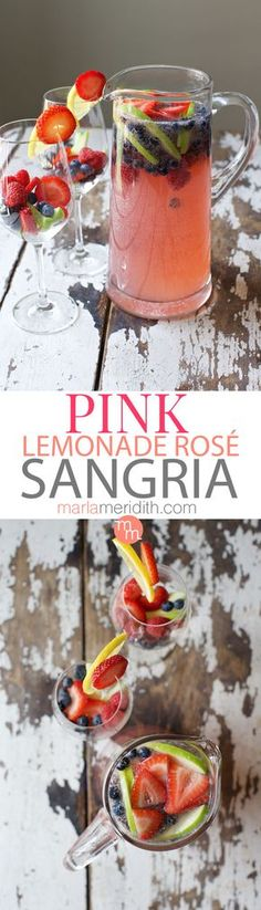 Pink Lemonade Rosé Sangria. This cocktail recipe will be a huge hit at all of your parties! MarlaMeridith.com ( @marlameridith )