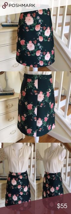 "Erin by Erin Fetherston Garden Bloom Skirt This gorgeous A line, knee length green and pink rose floral Garden Bloom skirt from Erin Fetherston is 100% polyester but has the spongy foam quality of neoprene. Features back zipper. Skirt has crease on back and hint of pilling on back upper left waistband (see photo). Size: 4. Waist: 13"". Length: 21"". ERIN by Erin Fetherston Skirts Midi"