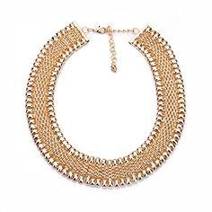 a6e76cc5621e Lureme® elegante dorado kc aleación de estilo retro cuadrado cadena de  espárrago con strass cristal