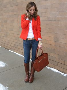 Blazer: J.Crew. Tee: Forever 21,   Jeans: Forever 21, Boots: Tory Burch, Bag: Coach, Belt: J.Crew  Necklace: t+j Designs