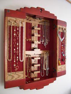 Country Sage Jewelry Organizer Vintage Curio Cabinet Repurposed
