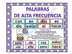 Palabras de alta frecuencia. High frequency words in Spanish from Mrs. G. Dual Language on TeachersNotebook.com -  (53 pages)  - This is a set of 106 high frequency words in Spanish for the word wall. I know there are several different lists of high frequency words in Spanish. If you need a word that is not included here, e-mail me. I will try to keep this list updated.
