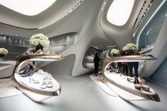 Zaha Hadid-Designed Stuart Weitzman Store Opens in Hong Kong Zaha Hadid Architecture, Baroque Architecture, Futuristic Architecture, Architecture Design, Futuristic Interior, Futuristic Design, Zaha Hadid Projects, Stuart Weitzman, Zaha Hadid Design