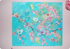 Planted and Blooming Girl paints birds and branches wall canvas inspired by PB kids