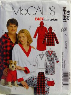 McCall's 0291 Misses', Men's and Teen Boys' Tops, Nightshirts, Pants and Top for Dog