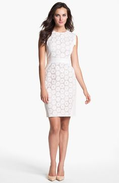 Adrianna Papell Mixed Lace Cotton Sheath Dress | Nordstrom. I wish it came in other colors...