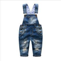 Great Price $17.09, Buy 2016 spring autumn Baby boy Distrressed overalls bib child denim pants infant jumpsuit children's clothing baby knit romper kids