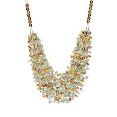 Baltic Amber, Aquamarine, Pearls and Lemon Quartz Gemstone Necklace