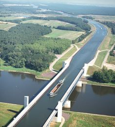 The Magdeburg Water Bridge in  Germany is the longest navigable aqueduct in the world. It connects the Elbe-Havel Canal to the Mittellandkanal, crossing over the Elbe River.