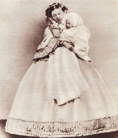 thefirstwaltz:    Princess Frederick of Prussia and Prince Wilhelm of Prussia, the future Kaiser Wilhelm II of Germany. 1859.