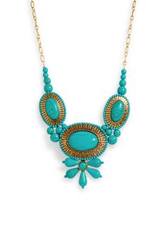 """""""Turq Tease"""" a fashionable statement necklace is much needed to compliment a bright sun dress #JustFabSweeps"""