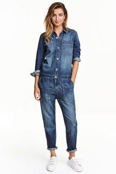 Jumpsuit Lang, Jumpsuit Outfit, Jeans Jumpsuit, Overalls, Dungarees, Long Sleeve Denim Jumpsuit, Blue Jean Jumpsuit, Pants, Denim H&m