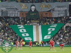 Celtic Green Brigade | CELTIC v Aberdeen 08.05.16 - 10 Years Green Brigade | Green Brigade Celtic Green, Celtic Fc, Aberdeen, Baseball Field, Glasgow, 10 Years, Ireland, Football, Bright Colours