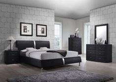 Black Enzo Collection Platform Bedroom Set - All About Decoration Black Bedroom Sets, 5 Piece Bedroom Set, Wood Bedroom Sets, Bedroom Furniture Sets, Home Decor Bedroom, Modern Bedroom, Furniture Layout, Mens Bedroom Sets, Bedroom Ideas