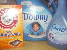 Vous aimez le febreze? Moi j'adore! Voici une recette maisonsuper simple à faire et vous pourrez vaporiser le Febreze maison sur vos tissus comme la recette commerciale. VOUS AUREZ BESOIN DE: -1/8 de tasse d'assouplissant liquide, la recette suggère