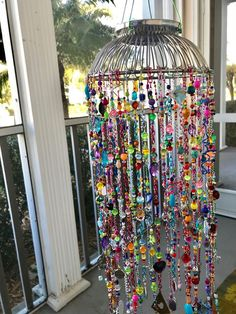 Diy wind chimes - Excited to share this item from my etsy shop Large Beaded Mobile Fun Crafts, Diy And Crafts, Arts And Crafts, Upcycled Crafts, Carillons Diy, Diy Wind Chimes, Deco Boheme, Beaded Curtains, Suncatchers