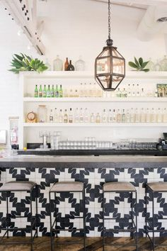 Gracias Madre Restaurant, West Hollywood, Los Angeles: the dramatic bar front is clad in black-and-white encaustic tile from Oaxaca, Mexico Home Design, Design Blogs, Design Ideas, Café Bar, The Design Files, Home Living, Living Room, Interiores Design, Interior Inspiration