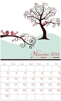 Free printable calendar, November, by Vivera - http://www.etsydigitaldesigners.com/2014-free-printable-calendar.php