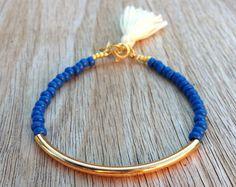 Pulsera tubo oro, Beaded Pulsera, brazalete con cuentas Pulsera borla, pulsera amistad, pulsera de perlas de semilla, brazalete de perlas de semilla, granos de azul