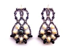 """""""Lucky Charm Mini Rococo"""" Earrings with Freshwater Pearl, Sardonix-Onyx, Swarovski Crystals, Sterling Silver hooks and tag.  www.musesa.com"""