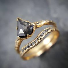 I am getting so excited for Halloween! Tonight I am casting 30 new diamond solitaire rings. Melting gold with my torch and spinning it into objects of love feels like pure magic! Conflict free salt and pepper with black diamonds in my one of a kind recycled gold setting. #blackdiamond #magic #love #marryme