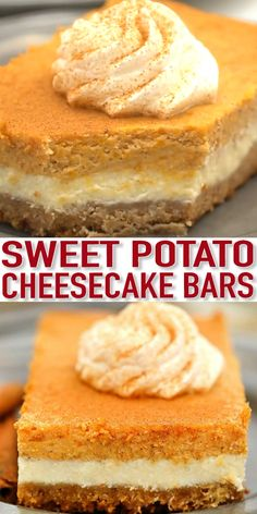 Sweet Potato Cheesecake Bars – Sweet and Savory Meals Sweet Potato Cheesecake Bars have layers full of creamy goodness! Topped with a cinnamon whipped cream, this dessert will never fail to please a crowd! Sweet Potato Cheesecake, Sweet Potato Dessert, Banana Pudding Cheesecake, Sweet Potato Recipes, Pudding Cake, Cheesecake Squares, Sopapilla Cheesecake Bars, Mini Cheesecake Recipes, Kid Desserts