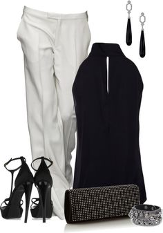 Great pants and fun top.  I always do black and white though, so would like to use some color.  Love the accessories too.