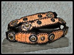 Custom halter, full leather, coral/brown hide with copper conchos