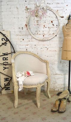 Painted Cottage Chic Shabby Upholstered Boudoir Chair [PCCHR78] - $395.00 : The Painted Cottage, Vintage Painted Furniture